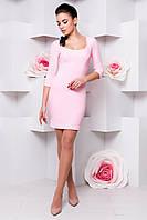 """Платье """"Тата 3/4 креп дайвинг""""  Розовый S"""
