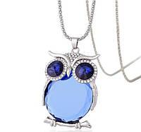 """Модная подвеска украшение """"Сова"""", кулон - оформление темно-синие и голубой кристаллы"""
