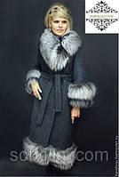 Роскошное и элегантное пальто из натуральной итальянской шерсти, с отделкой из меха финской чернобурки