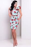 """Платье """"Шелли принт костюмная ткань"""" Мята Розы красные кр 2/3 S"""