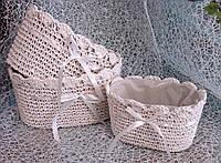 Набор 3 шт. кашпо-корзинок вязаных ручной работы овальной формы  для цветочных композиций
