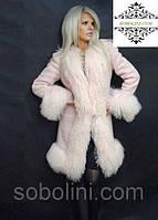 Пальто из шерсти с отделкой цельной пудровой ламой