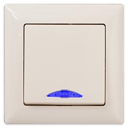 Gunsan Visage Выключатель одноклавишный с подсветкой кремовый