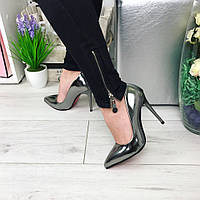 Женские модные туфли-лодочки, каблук 10,5 см, серебряного цвета / лаковые туфли женские на красной подошве
