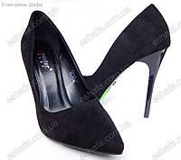Женскиe замшевые туфли лодочки на шпильке 10,5см Черные