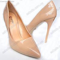 Женскиe лаковые туфли лодочки на шпильке 10,5см Пудра