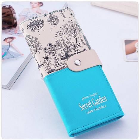 Прекрасный женский кошелек кремово-бирюзового цвета Secret Garden
