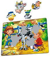 Пазл-вкладыш Ферма. Дети и корова, серия МАКСИ, Larsen