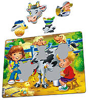 Пазл-вкладыш Ферма. Дети и корова, серия МАКСИ, Larsen, фото 1