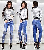 Серебристая куртка бомбер Chanel 1571 (417)