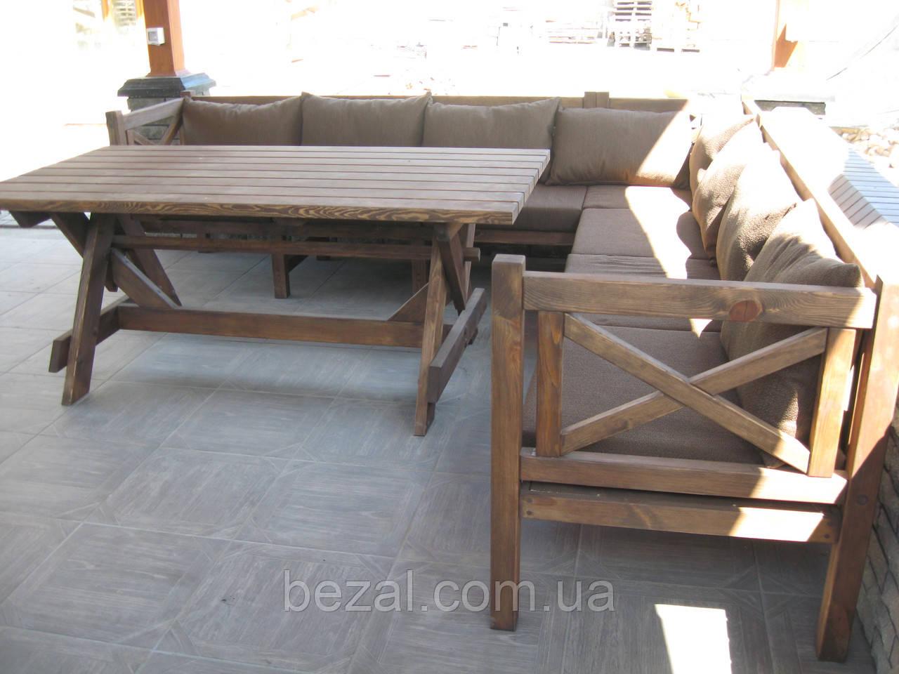 Стіл Еміне 2,2 м, дерев'яні меблі для дачі Еміне