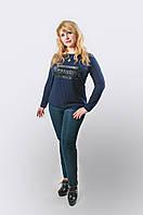 """Синяя красивая кофта  """"Шанель"""" из трикотажа, батал, M,L,XL,XXL р-ры, 280/240 (цена за 1 шт. + 40 гр.)"""