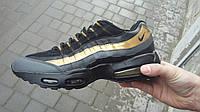Мужские кроссовки Nike 95, пресс-кожа,черного цвета с золотом  / кроссовки мужские Найк 95, удобные, легкие