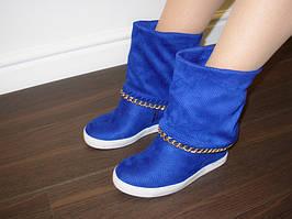 Д505 - Сапоги сникерсы женские синие