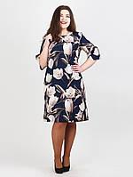 Батальное платье с принтом цветы