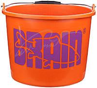 Ведро Brain для прикормки (пластик) 12 л оранжевое