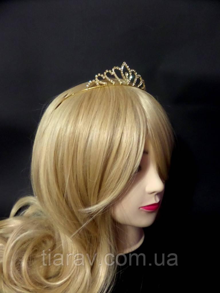 Диадема свадебная Николь корона золотая украшения для волос