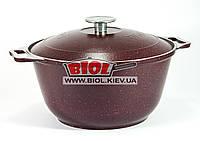 Каструля алюмінієва 3,5 л з потовщеним дном і зовнішнім бордовим покриттям БІОЛ К0351Д, фото 1