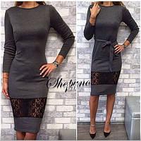 Платье футляр карандаш с гипюром + пояс , фото 1