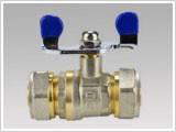 Кран WING диаметр 16х16,стальная бабочка,стальной шар для перекрытия воды в системах.