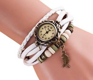 """Женские часы с кожзам ремешком под старину с брелком """"рыбка"""", фото 2"""