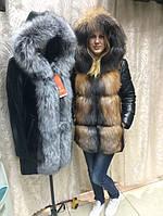 Женская куртка из натуральной кожи с мехом чернобурки Anita.