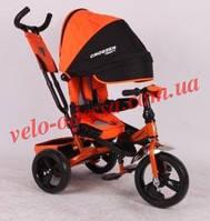 Коляска-трехколёсный велосипед T-400 CROSSER надувные колеса бордо
