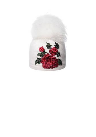 Красивая шерстяная шапочка с аппликацией ручной роботы и помпоном, фото 2