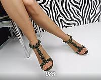 Женские босоножки на каблуке, замшевые, цвета хаки / босоножки с камушками женские, стильные