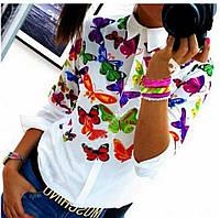 """Женская, модная рубашка из мультишифона """"Бабочки"""" Фабричный Китай!"""