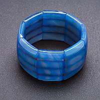"""Браслет Элит Агат голубой на резинке прямоугольное """"звено"""" 4х2,8см"""