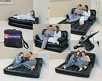 Надувной диван-кровать трансформер 75056 с электронасосом