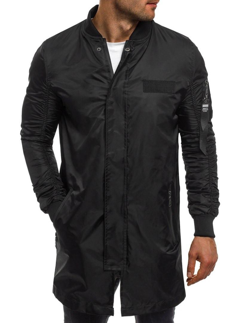 Куртка ветровка мужская (удлинённая) черная