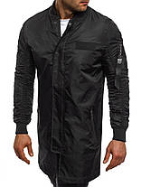 Куртка ветровка мужская (удлинённая) черная, фото 3