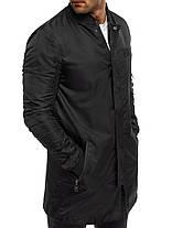 Куртка ветровка мужская (удлинённая) черная, фото 2