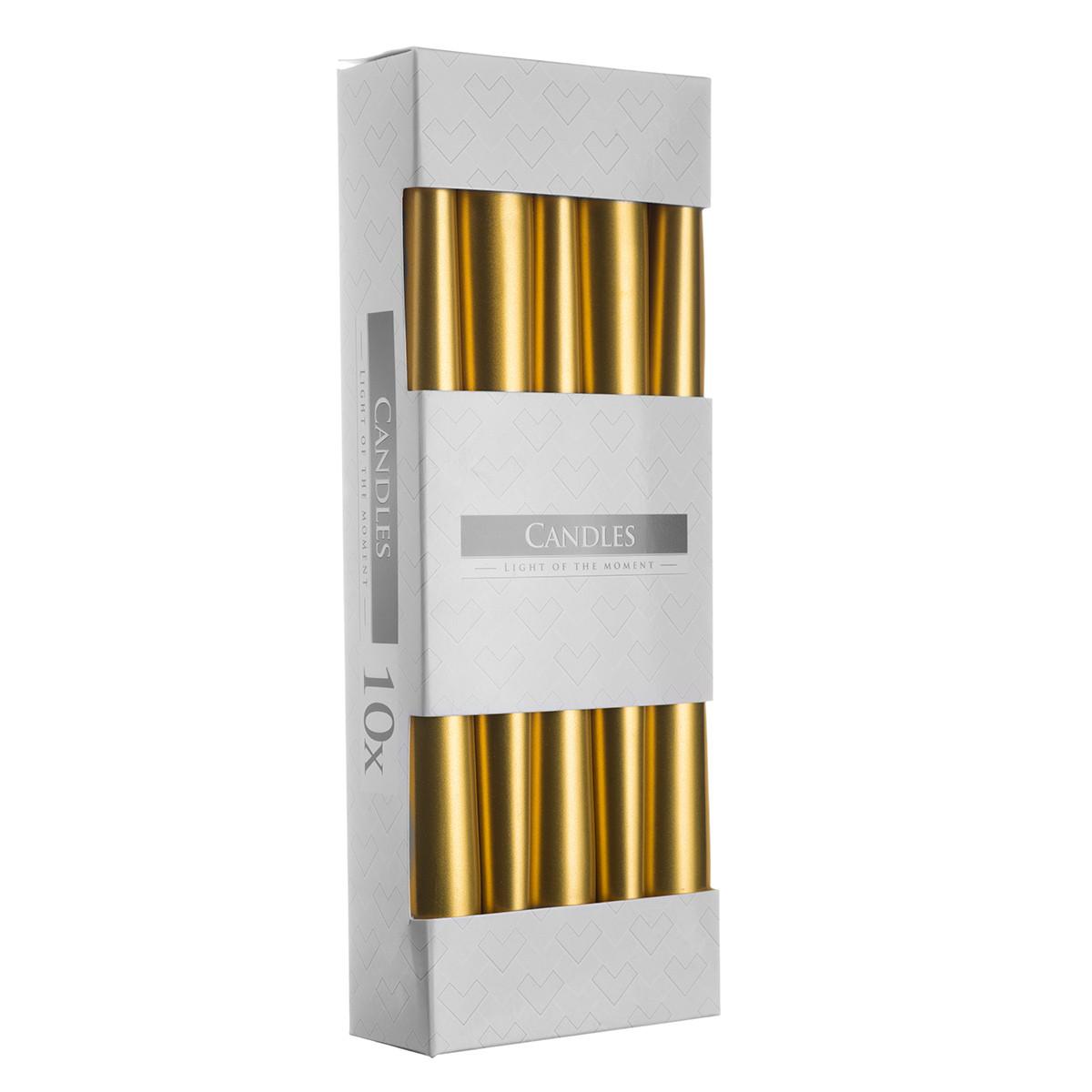 Свеча коническая золотистая  Bispol 24,5 см 10 шт (s30-213)