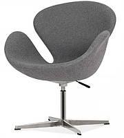 Кресло дизайнерское Сван серое, с газовым лифтом, точная копия кресла Swan дизайн Арне Якобсена
