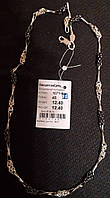 Серебряная цепь 925 пробы Восьмерка + мальвина с чернением