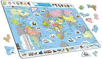 Пазл-вкладыш Политическая карта мира (на украинском языке), серия МАКСИ, Larsen