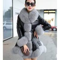 Женская куртка из натуральной кожи с мехом песца Tina