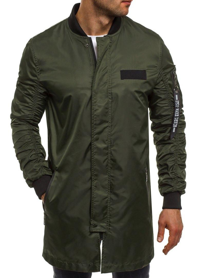 19bb3af4 Куртка ветровка мужская (удлинённая) цвета хаки - Интернет-магазин обуви и  одежды KedON