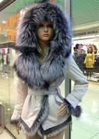 Женская куртка из натуральной кожи с мехом чернобуркиTriniti