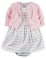 Летний комплект для новорожденной девочки 6 мес., 9 мес., 12 мес. Кардиган, платье-боди Allover print Carter's