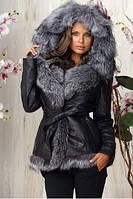 Женская куртка из натуральной кожи с мехом чернобурки Stefani