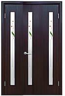 Полуторная (двустворчатая) межкомнатная дверь КВАДРА ВЕРА экошпон