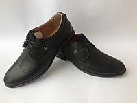 """Мужские стильные кожаные черные туфли фабрики """"eD-Ge brothers"""" с перфорацией (броги)"""