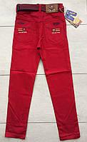 Цветные брюки-джинсы на мальчика 11-12 лет красный