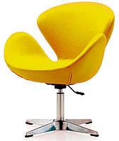 Кресло дизайнерское Сванни желтое с газовым лифтом, точная копия кресла Swan дизайн Арне Якобсена