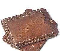 Картхолдер кожаный + карман на удостоверение, коричневый