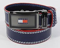 Кожаный ремень автомат мужской Tommy Hilfiger 8036-304 синий
